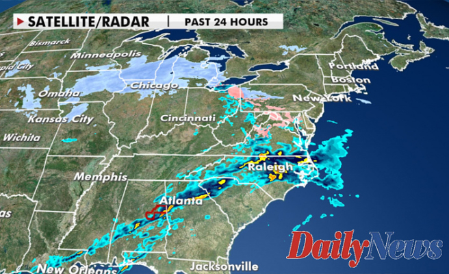 Winter storm system bringing rain, snow, strong winds from Plains into the Northeast