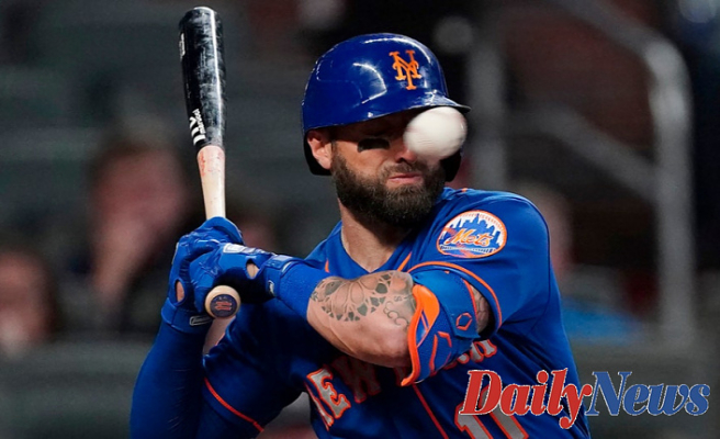 Mets' Kevin Pillar Stocks Upgrade after getting hit by pitch Braves