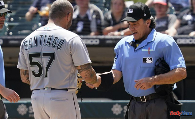Mariners' Santiago was suspended for 10 games because of foreign substance