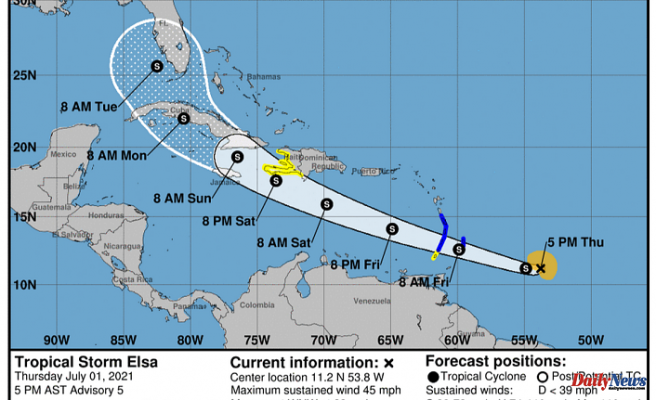 Tropical Storm Elsa forms, the 5th named storm of the season. Will it make it to Florida via track?
