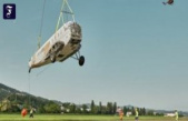 Transport with helicopter: a Ju 52 fuselage flown