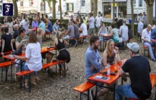 The beer garden in Wiesbaden, An oasis from the traffic and swept away by