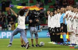 Pitch Invader Flys Pride Flag during Hungary's...