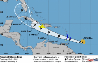 Tropical Storm Elsa forms, the 5th named storm of...