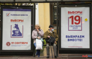 Russia votes in the election for parliament without...